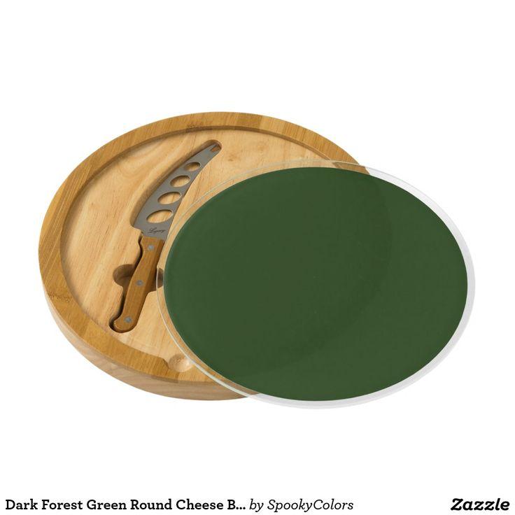 Dark Forest Green Round Cheese Board - #windywinters #zazzle
