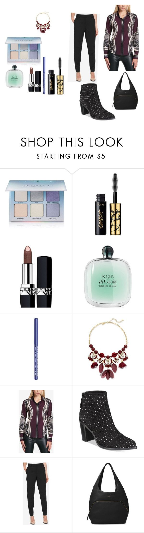 """""""DKNY"""" by chauert ❤ liked on Polyvore featuring Anastasia Beverly Hills, tarte, Christian Dior, Giorgio Armani, NYX, INC International Concepts and DKNY"""