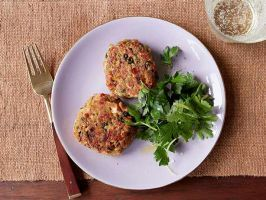 Salmon Cakes : Ina uses onion, celery, and red and yellow bell peppers to boost the great flavor of these salmon cakes. The cakes are coated in breadcrumbs and then fried just before they're served.