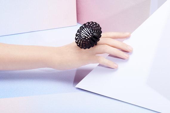 3D Printed JUMBO Round Diamond Shaped Ring  MYBF ring by Maison203, €35.00