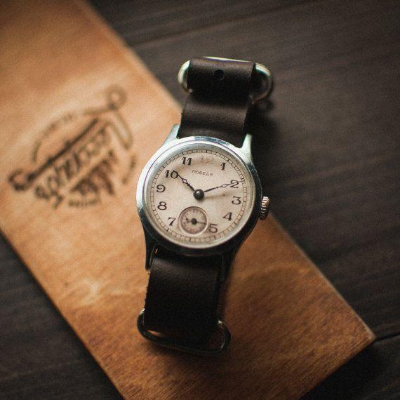 Vintage white mechanical watch, soviet mens watch, watch vintage, russian watch, USSR watch, Pobeba wrist watches