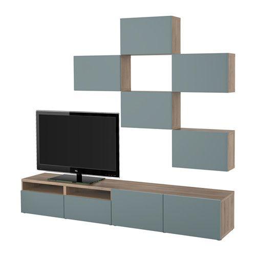 BESTÅ Combinaison meuble TV - motif noyer teinté gris/Valviken gris turquoise, glissière tiroir, fermeture silence - IKEA