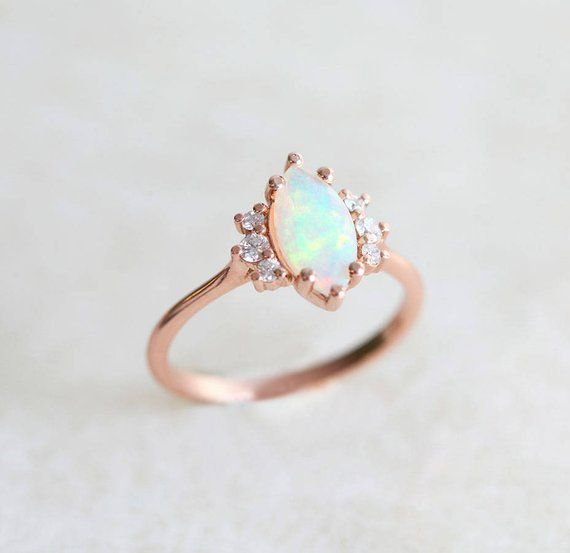 Opal Cabochon Genuine Promise Ring For Her October Birthstone Ring Fiery Welo Opal Solitaire Ring 1 Carat Teardrop Opal Engagement Ring