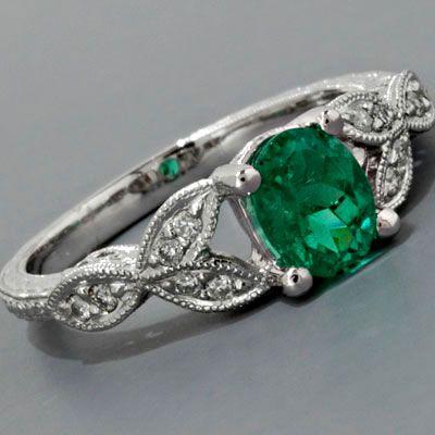 Antique Engagement Ring Art Nouveau Style Platinum Colombian Emerald Diamonds
