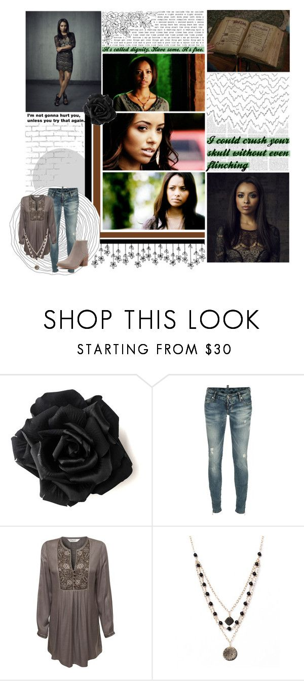"""""""O7/5O - Bonnie Bennett"""" by purplexlittlexbear ❤ liked on Polyvore featuring WALL, Dsquared2, EAST, Alicia Marilyn Designs and Sol Sana"""
