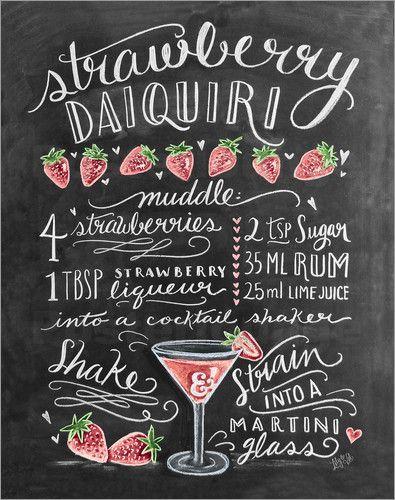 Poster Erdbeer-Daiquiri Rezept