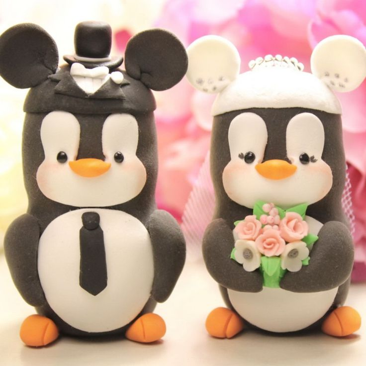 Unique Mouse Ears Hats Penguin Wedding Cake Toppers