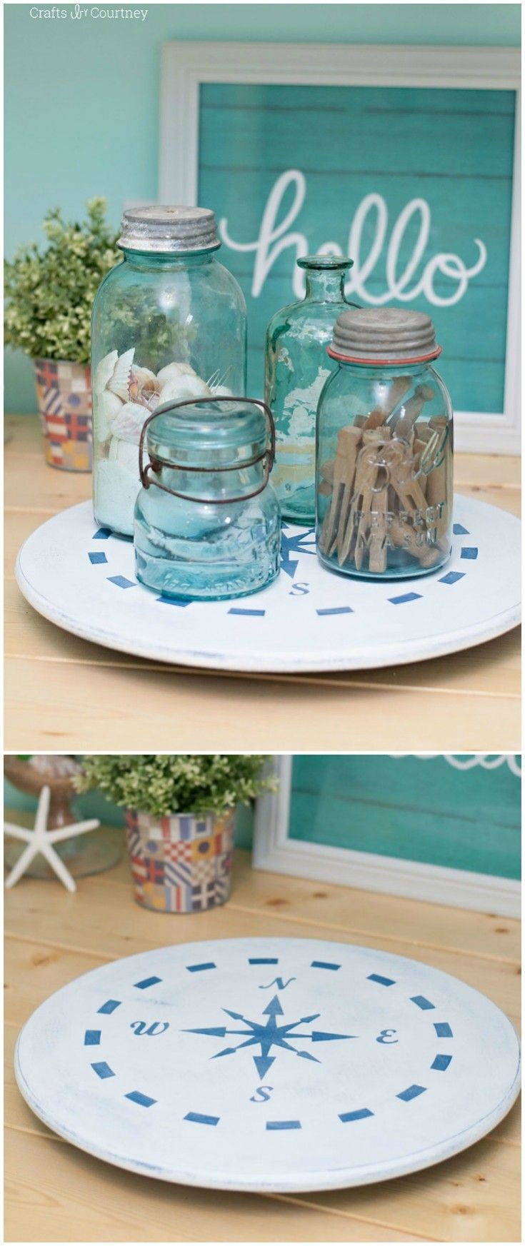 Add a nautical touch to your kitchen with this unique DIY lazy susan makeover! Use a stencil to create a compass design with chalk paint and Mod Podge. via @modpodgerocks