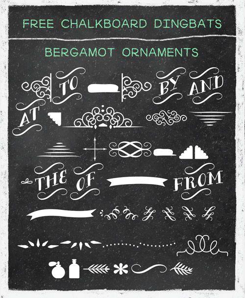 Free chalkboard dingbat fonts, banners, swirls, etc.