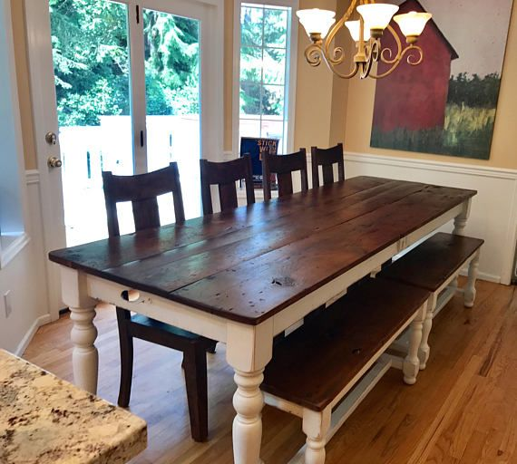 The 8 Foot Farm Table Handmade With Reclaimed Barn Wood By Farmhouse Table Small Kitchen Furniture Antique Farm Table
