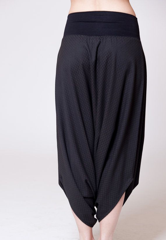 Black Cotton Harem Skirt Pants Diamond Shape by MichalRomem