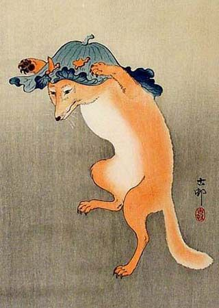 Kitsune: mythological Japanese trickster fox, a Shinto kami spirit