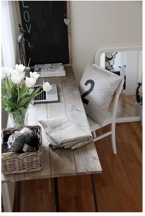 Relaxed feeling study area. Make a desk? Dark legs- put with a dark desk and shelving made with pipes?