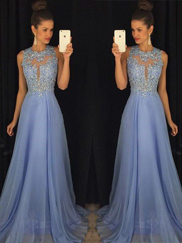 da408297093 A-Line Princess Scoop Sleeveless Sweep Brush Train Applique Chiffon Dresses  - Hebeos Online