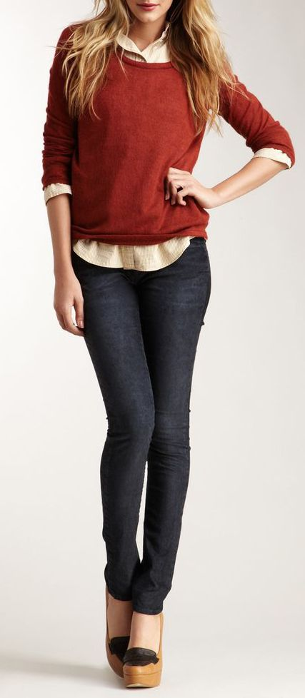Raven Denim Remy Skinny Leg Cord Pant-totally have this outfit in my closet!