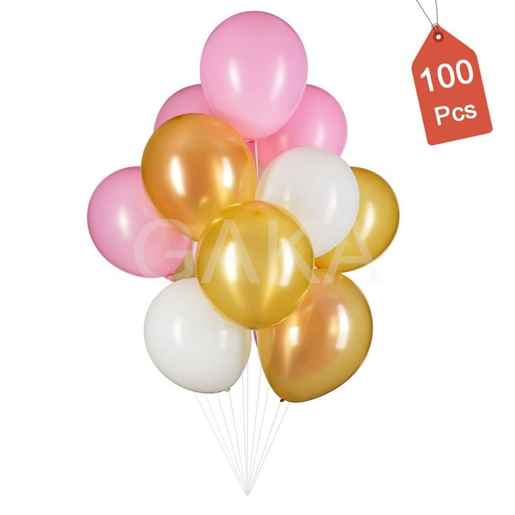 12inch Gold Amp Pink Amp White Latex Party Balloons 100pcs Great For Birthday Wedding Graduation Anniversary Baby Shower Holidays Retirement First