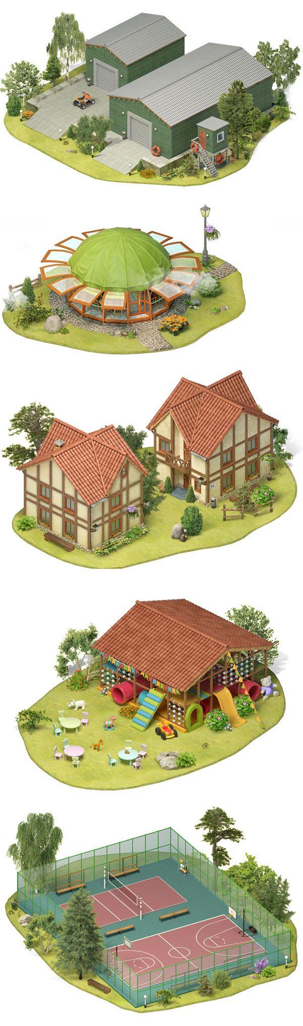 Map village by ILYA Denisenko, via Behance