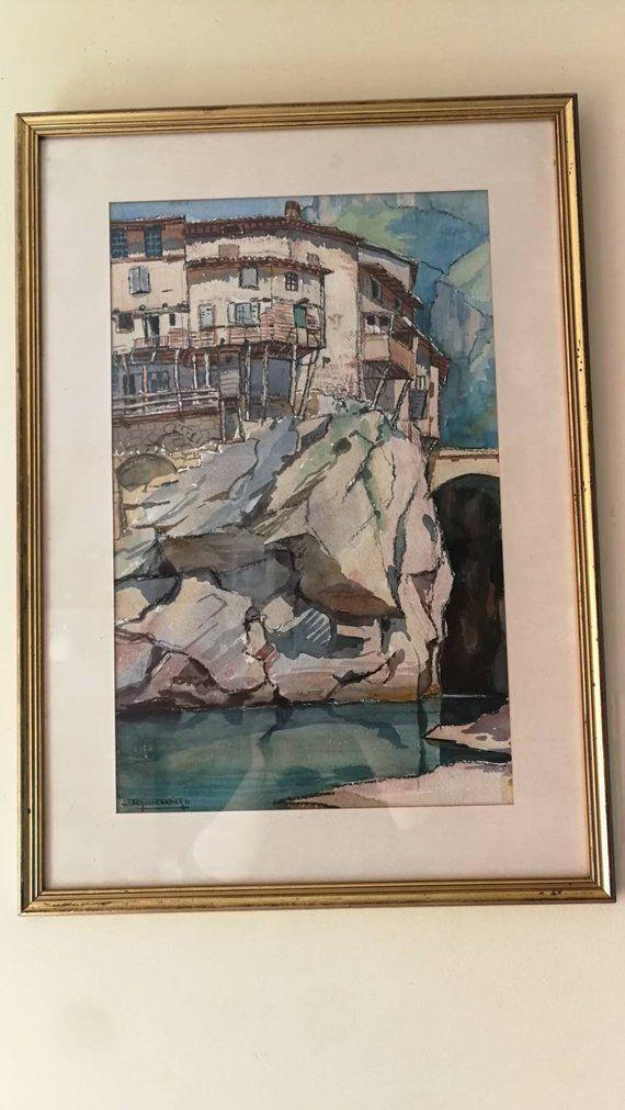 Aquarelle Et Fusain Diptyque De Pont En Royan Jacques Cartier