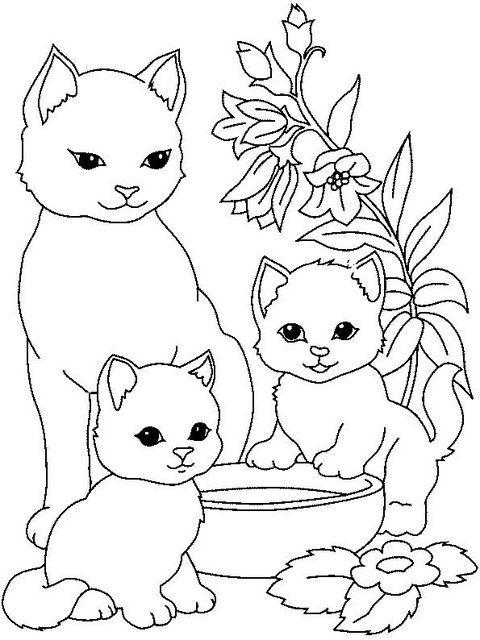 Для, кошка с котятами рисунок