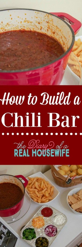 I love this chili recipe and having all the fixing for it! What do you usually put on your chili? Check out how to build your own chili bar.