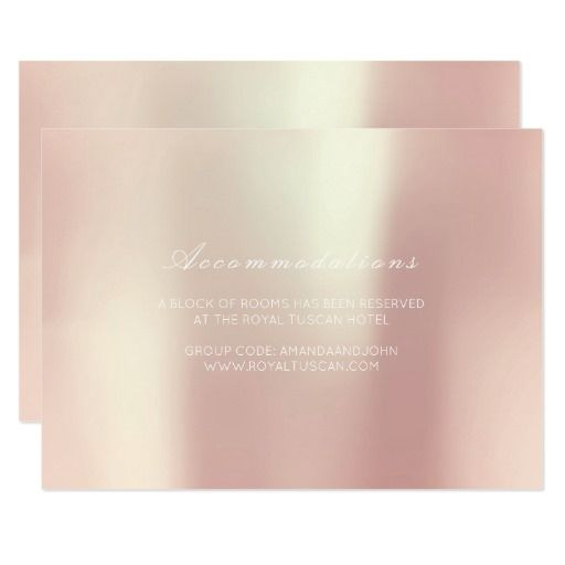 Vip Glam Champaign Pink Wedding Hotel Accomodation 9 Cm X 13 Cm Invitation Card