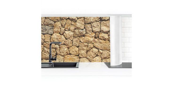 Küchenrückwand »Alte Wand aus Pflasterstein«
