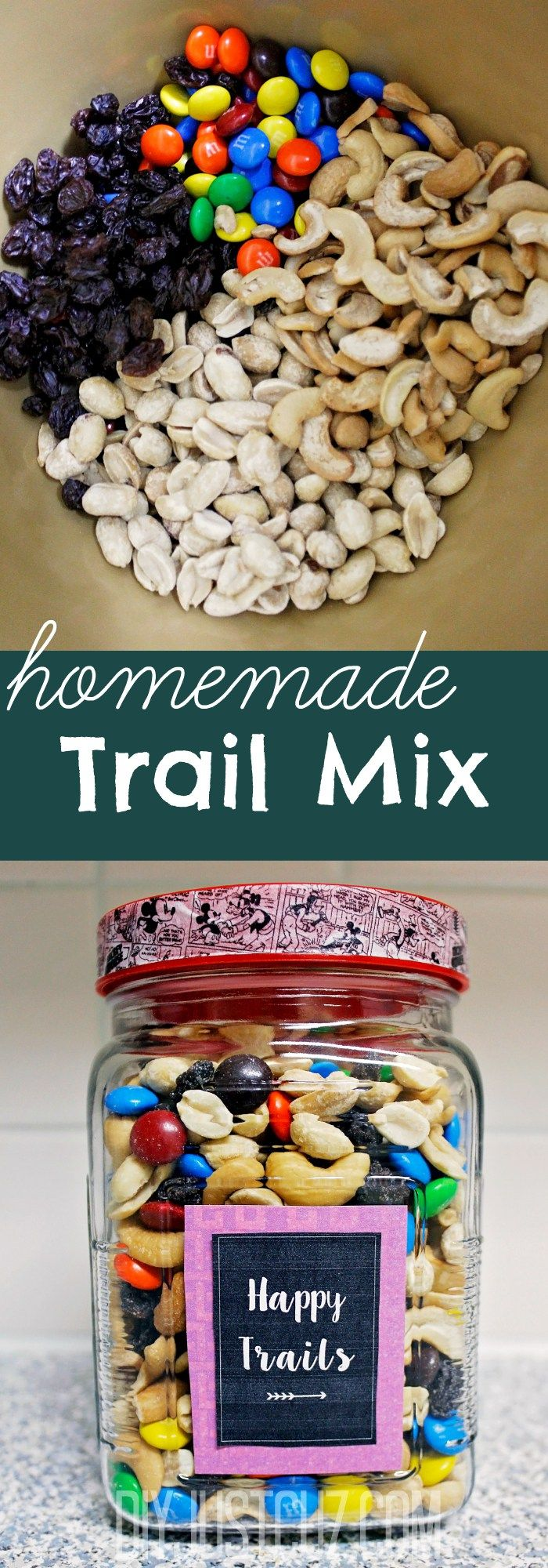 Stop buying expensive premade trail mix! Instead, check out these super simple recipes for homemade trail mix - so good you'll never buy it again! @diyjustcuz