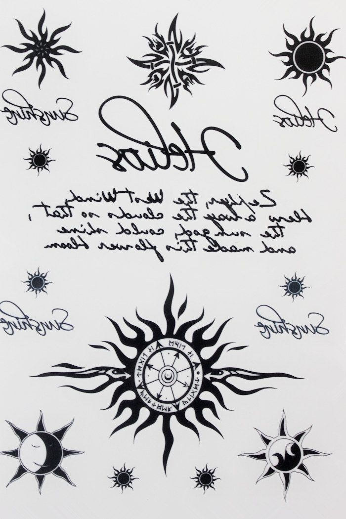 Many Sun and Moon Tattoo 21 X 15 CM Sized Sexy Cool Beauty Tattoo Waterproof Hot Temporary Tattoo Stickers #Affiliate