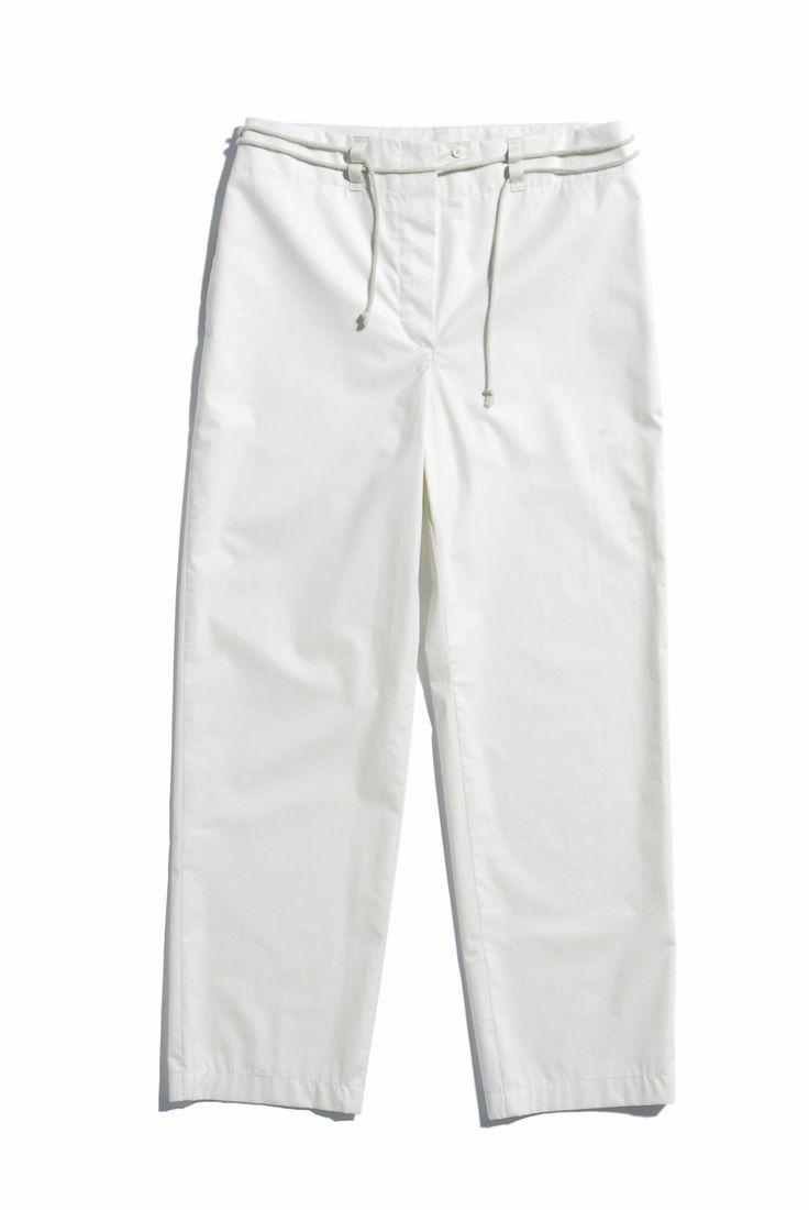 EINZELGÄNGER pantaloni in popeline di cotone beige • beige cotton poplin pants