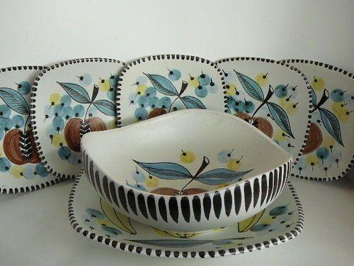 Mid Century Retro Graveren Norwegian Scandinavian Pottery bowls plate sets