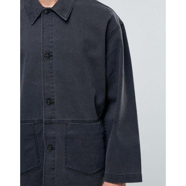 ASOS Denim Worker Jacket In Black ($65) ❤ liked on Polyvore featuring men's fashion, men's clothing, men's outerwear, men's jackets, asos mens jackets, mens denim jacket and mens oversized denim jacket