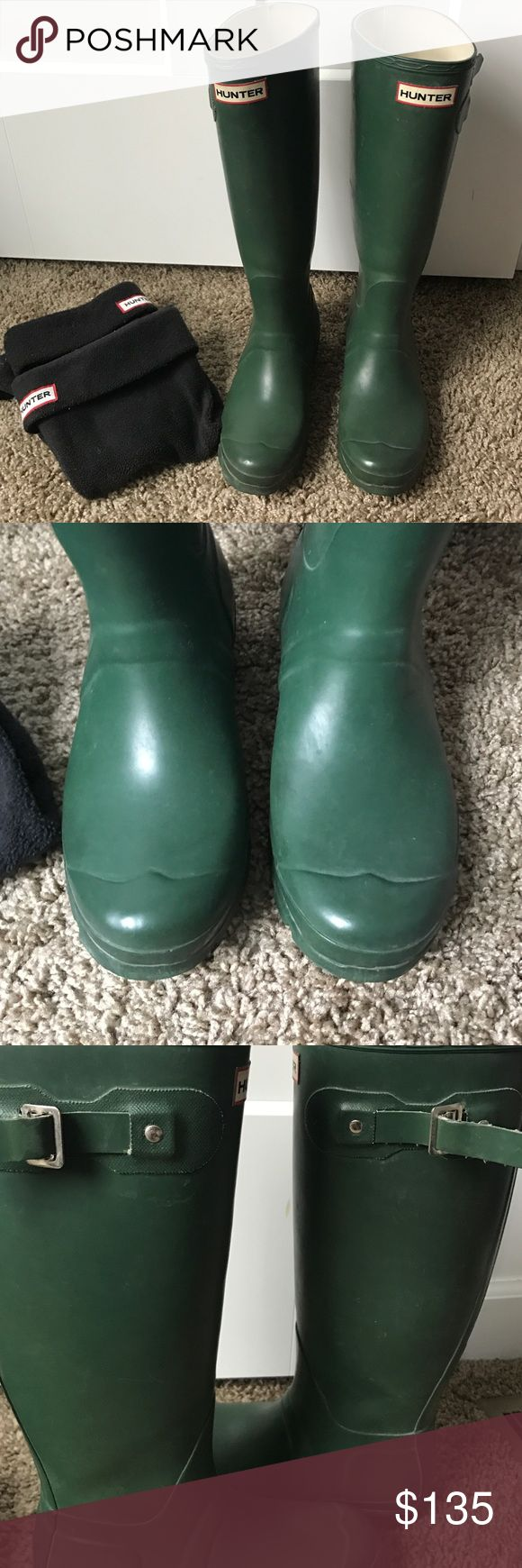 ❗️SALE❗️Hunter boots with socks GUC size 6 Pair of tall matte green Hunter boots with black socks included. They are used but in really great condition. Nothing beats the quality of these boots. I love them but selling because I am petite and needed the shorter boots. Make me an offer! Size USA 4M/5F EU 35/36 price firm Hunter Boots Shoes Winter & Rain Boots