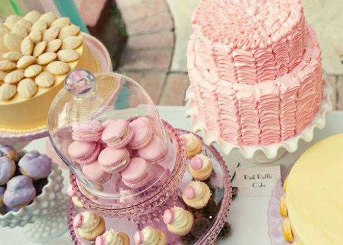 ...: Sweet, Disney Party, Pink Cakes, Food Idea, Party Idea, Pink Ruffles Cakes, Princesses Bridal Showers, Desserts Tables, Disney Bridal Showers