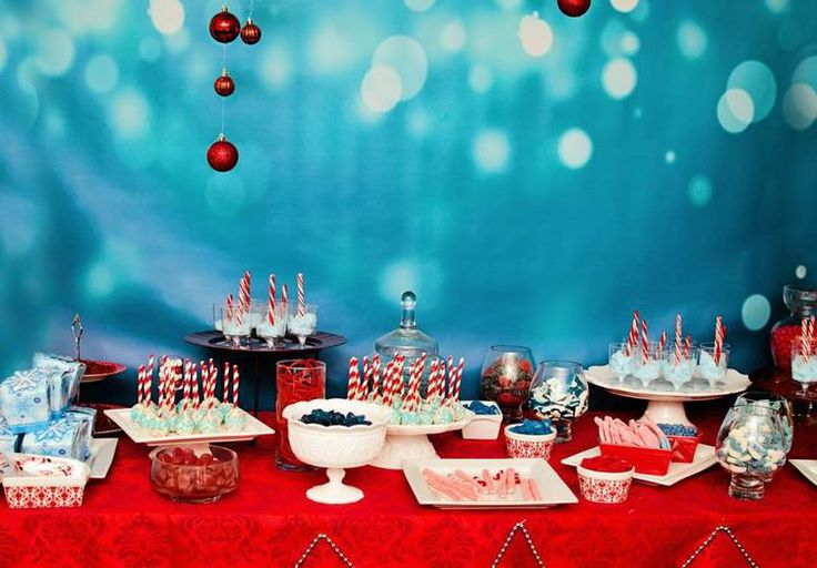 Blue + red Christmas candy + desserts bar.
