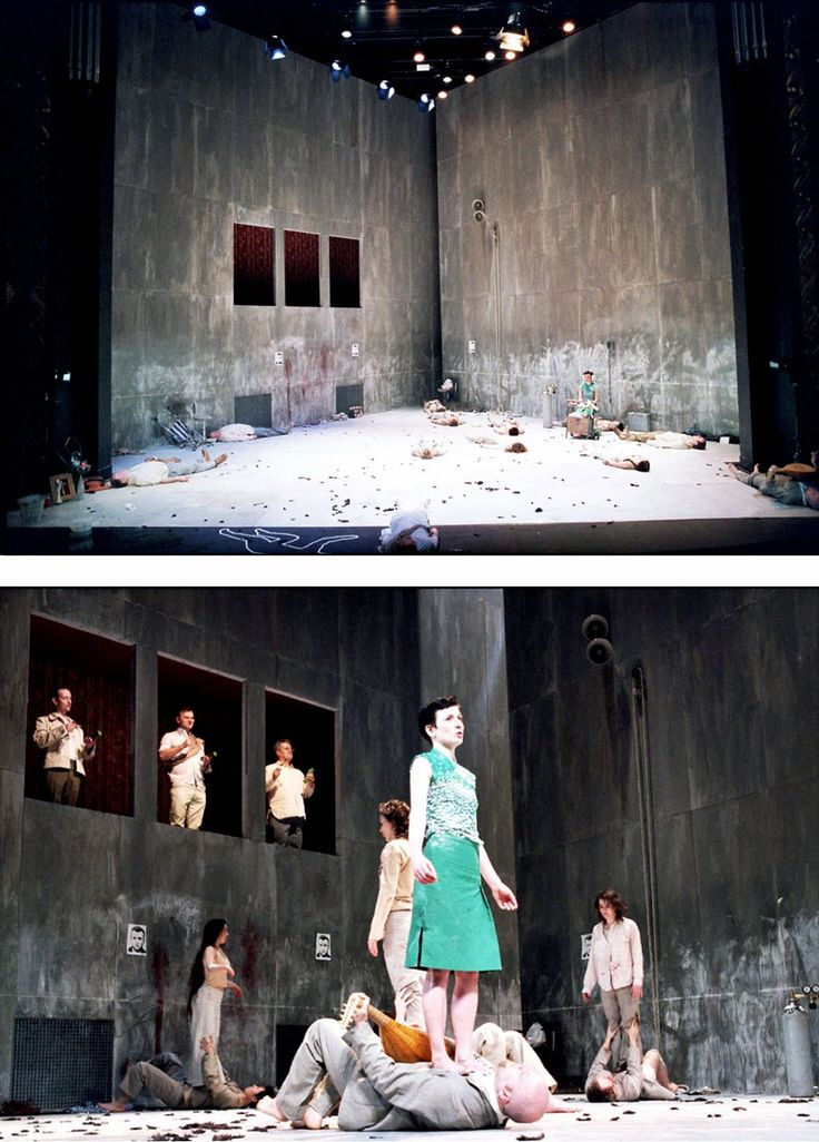 I want my set to be staged in this configuration, with a corner at centre upstage. I also want large and tall walls that dwarf the audience.