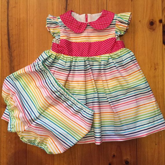 Rainbow Baby Girl Dress with matching Bloomers by SpirwellSewing