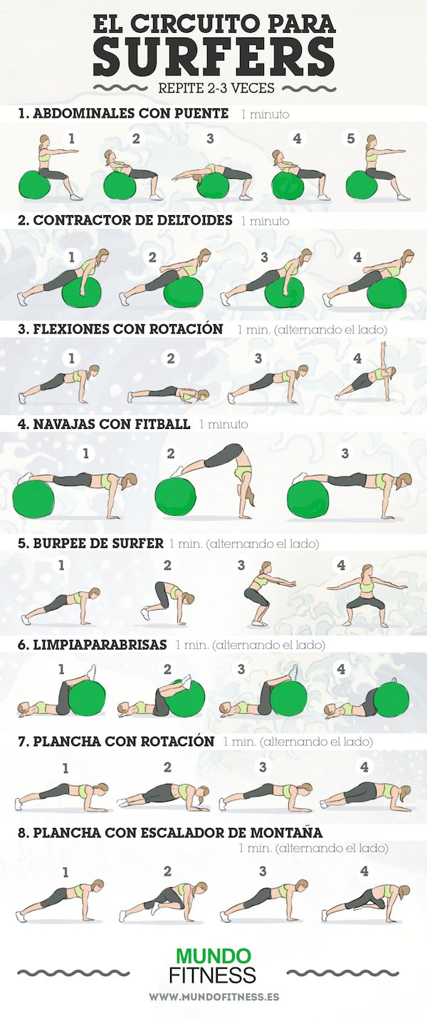 Fitness routine to help with surfing.