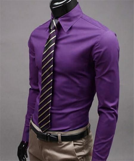 f8db3f359e Univos Kuni Men Shirt Long Sleeve Mens Casual Shirts Cotton Solid Color  Business Slim Fit | Férfi divat | Moda ropa hombre, Camisas hombre vestir  és Trajes ...