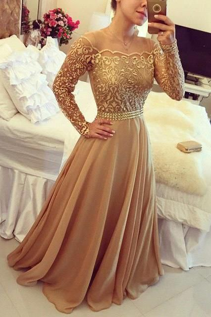 Golden A Line Prom Dress 08ec2b9b6b42