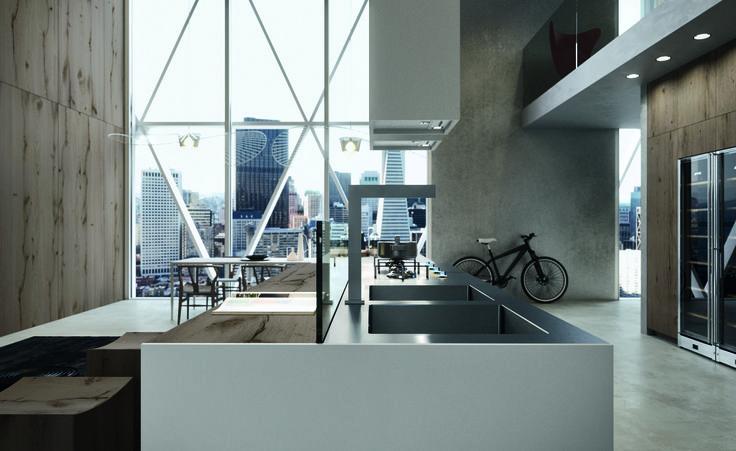Mobilier de bucătărie modernă, design Italia, ARRITAL model AK_04, design Franco Driusso | Bucătărie cu ramă de aluminiu | În România prin Interna Mobili