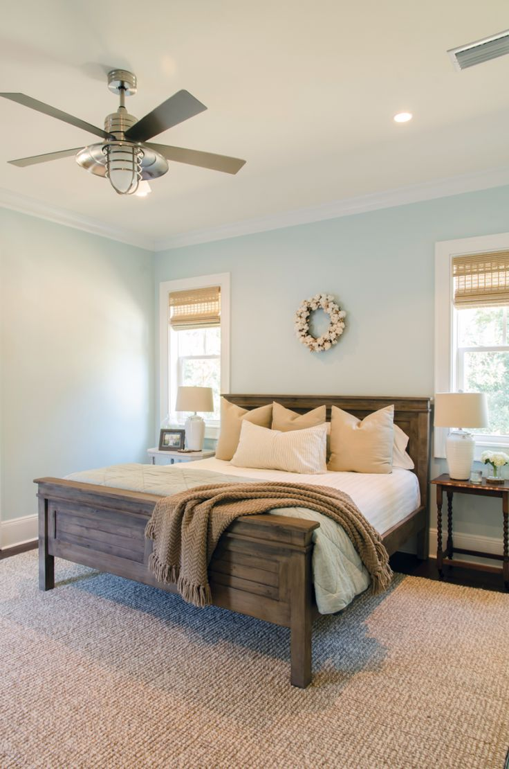 this is what i want our master to look likecozy neutral bedroom love the ceiling fan too