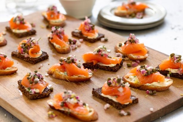 Curtis' smoked salmon tartines with red onion-caper relish