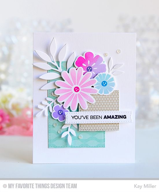 Amazing Floral Card By Kay Miller Featuring The Stamp Set Large Desert And Die Namics Winter Waves Mini Hexagon Ba