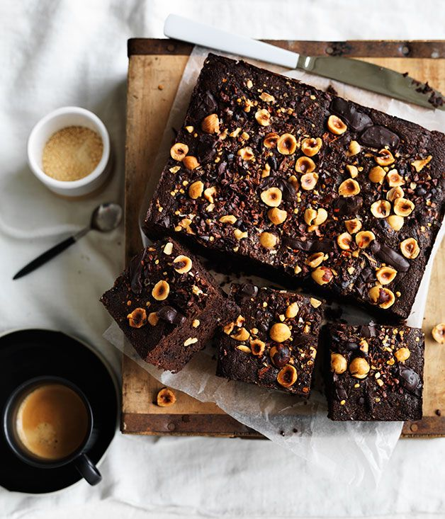 Spiced cacao and hazelnut brownies - Gourmet Traveller