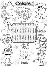 English worksheet Wordsearch BASIC COLORS Color