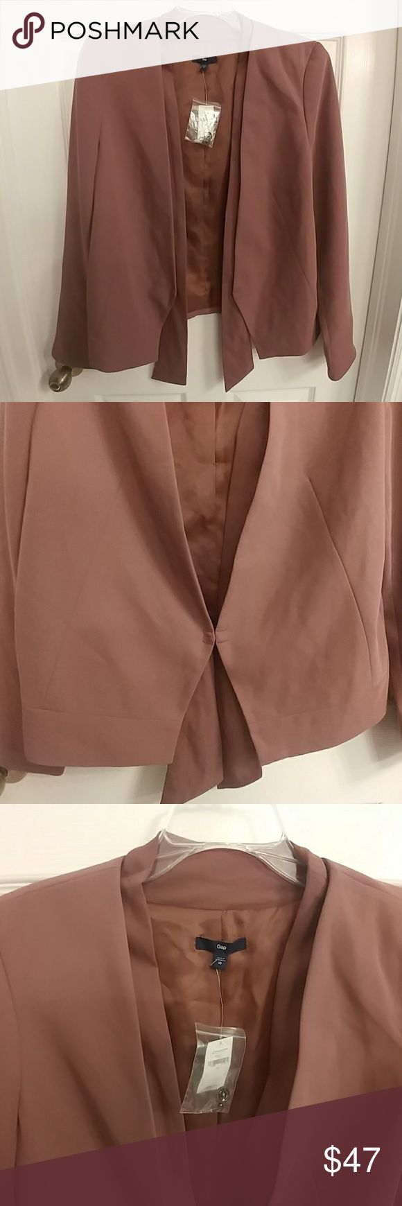 Gap Work Blazer/Jacket- Dark Taupe Long sleeve woven work blazer, dual lapel with scarf-like detail at bottom, 1 hook and eye closure at front, hidden button on each sleeve with vent, v-neck shape and great seaming details. Never worn. GAP Jackets & Coats Blazers