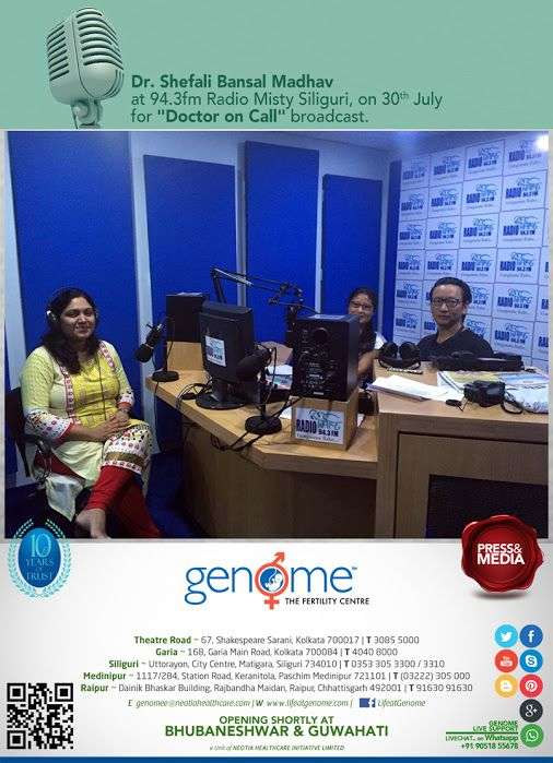 On 30th July, Dr. Shefali Bansal Madhav from GENOME Siliguri Centre was the guest for 'Doctor on Call' broadcast at 94.3 FM RADIO MISTY Catch our elite team of infertility and reproductive medicine specialists on DOCTOR ON CALL broadcasts aired over FM Radio stations and TV channels in Siliguri.