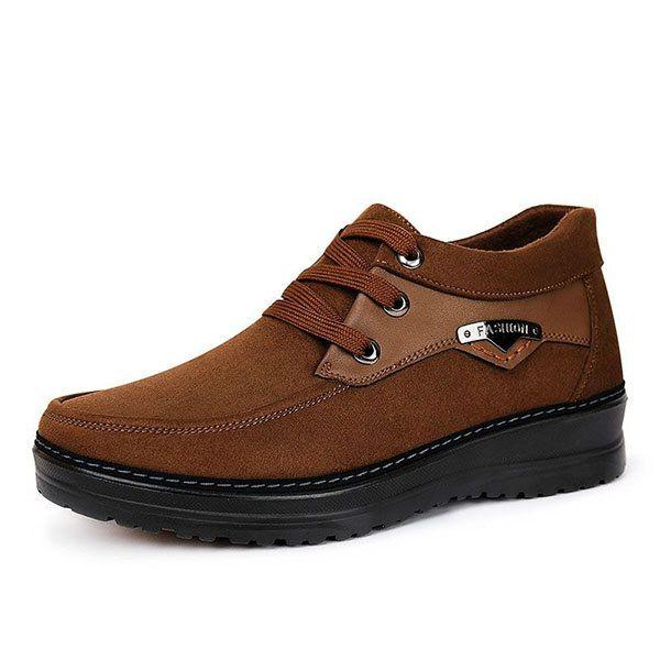 men lace up warm plush lining ankle boots  men lace up warm plush lining ankle boots  #men's shoes