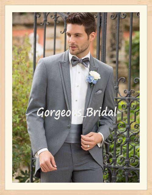 Nueva llegada de moda hombres smoking traje de boda personalizado con un botón gris claro smokinges del novio de la chaqueta + Pant + Tie WY040