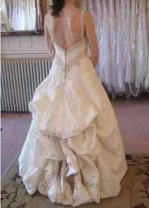 How to bustle a wedding dress with a long train